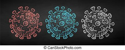coronavirus, vektor, kréta, húzott, állhatatos