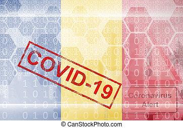 coronavirus, zenemű, stamp., kitörés, románia, digitális, fogalom, elvont, lobogó, covid-19, futuristic