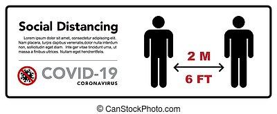 coronovirus, distancing, méter, protective., tart, járvány, távolság., 2, banner., társadalmi