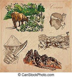 corsica, utazás, -, kéz, vektor, húzott, konzervál