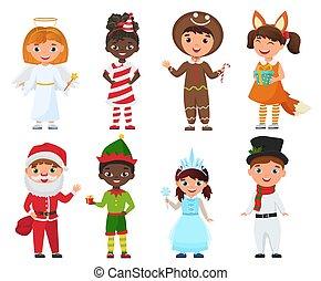 costumes., állhatatos, karácsony, vektor, gyerekek