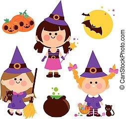 costumes., öltözött, mindenszentek napjának előestéje, gyűjtés, vektor, boszorkány, gyerekek