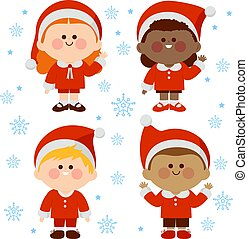 costumes., gyerekek, karácsony, ábra, csoport, vektor, különböző, klaus, öltözött, szent