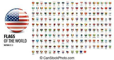 countries., nemzeti, fehér, ábra, vektor, zászlók, háttér