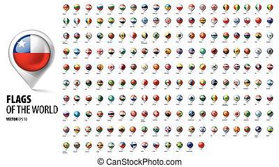 countries., vektor, ábra, nemzeti, white háttér, zászlók
