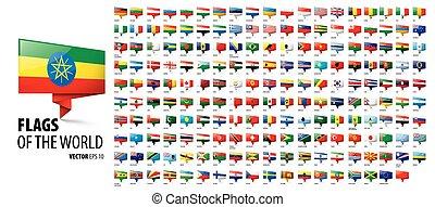 countries., vektor, háttér, fehér, nemzeti, zászlók, ábra