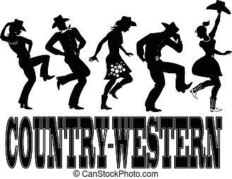 country-western, táncol, árnykép, bölcsész