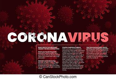 covid-19, ellen, coronavirus., concept., lépés, alapvető, pandemic., influenza, coronavirus, 2019-ncov, oltalmazó