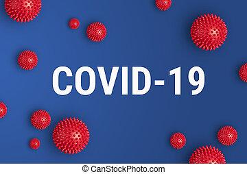 covid-19, felírás, kék, coronavirus, feszít, piros háttér, formál