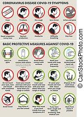 covid-19, tünetek, oltalmazó, betegség, alapvető, coronavirus, lépés