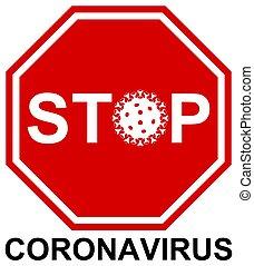covid-19, vektor, ábra, megáll cégtábla, coronavirus, 2019-ncov