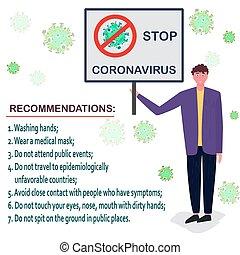 covid, alapvető, társadalmi, ellen, kéz, lépés, hygiene., abbahagy, concept., oltalmazó, új, coronavirus, distancing, 19
