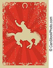 cowboy., grunge, vad, rodeó, háttér, ló, race., vektor, grafikus, poszter