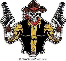 cowboy, koponya, arc