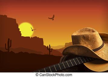 cowboy, ország, gitár, amerikai, zene, háttér, kalap