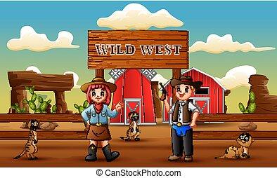 cowboy, tanya, nyugat, meerkats, vad, karikatúra