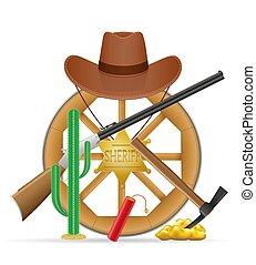 cowboy, vad, részlet, vektor, ábra, cigánykerék, fából való, nyugat