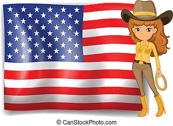 cowgirl, egyesült államok, lobogó, egyesült, amerika