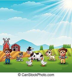 cowgirl, major állat, cowboy
