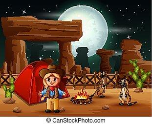 cowgirl, meerkats, karikatúra, kempingezés, éjszaka