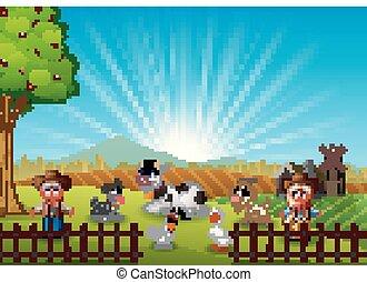 cowgirl, tanya, reggel, állatok, cowboy