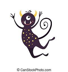 creature., szörny, ugrás, furcsa, mosolygós, nyomtat, fél, karikatúra, képzelet, dekoráció, ábra, sticker., elszigetelt, tervezés, white.