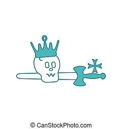 cross., fejtető, koponya, kard