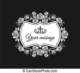 cross., koszorú, kártya, menstruáció, vektor, temetés