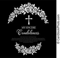 cross., menstruáció, koszorú, rózsa, temetés, kártya