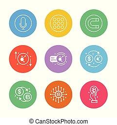 crypto, vektor, érme, dollár, étrend, pénznem, állhatatos, 9, eps, mikrofon, pénz, mágnes, ikonok, darab