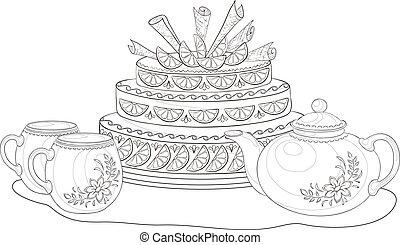 csészék, körvonal, teáskanna, torta