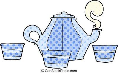 csészék, karikatúra, teáskanna
