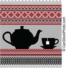 csészék, teáskanna, ábra