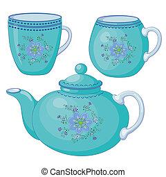csészék, teáskanna