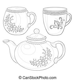 csészék, teáskanna, körvonal