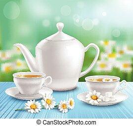 csészék, teáskanna, zenemű