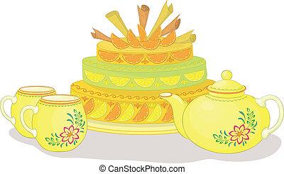 csészék, torta, teáskanna