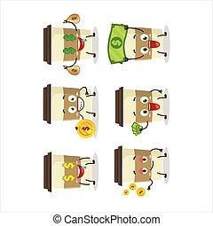 csésze, hoz, betű, kávécserje, emoticon, karikatúra, pénz, csinos