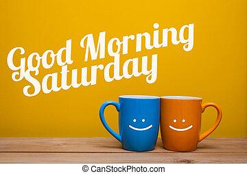 csésze, kávécserje, reggel, elszigetelt, háttér, sárga, jó, fogalom, szombat
