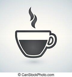 csésze, kávécserje, vektor, illustration., ikon