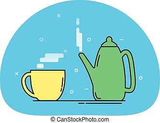 csésze, teáskanna, ikon