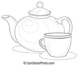 csésze, teáskanna, körvonal