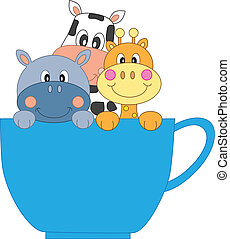 csésze, zsiráf, víziló, tehén