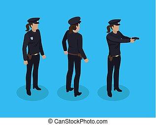 cséve, állhatatos, ikonok, ábra, vektor, rendőrnő