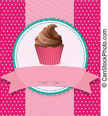 csíkos, retro, háttér, cupcake