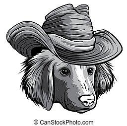 csípőre szabott, labrador, egyszínű, súlyos, kutya, szürke, karikatúra, selyem, vektor, kalap, vizsla