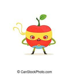 csípőre tett-, superhero, alma, betű, fegyver, karikatúra