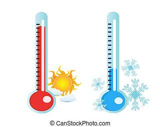 csípős, hideg, hőmérséklet, lázmérő