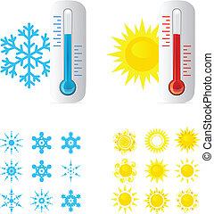 csípős, lázmérő, hideg, hőmérséklet