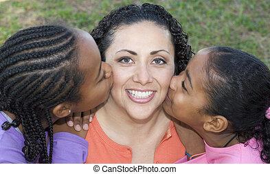 csókolózás, gyerekek, anyu